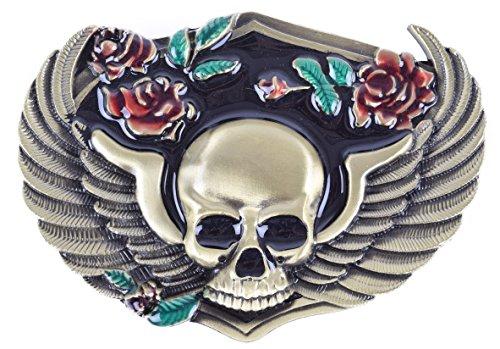 ng Skull Art Design Cowboy Belt buckle Two Colors (Golden) ()