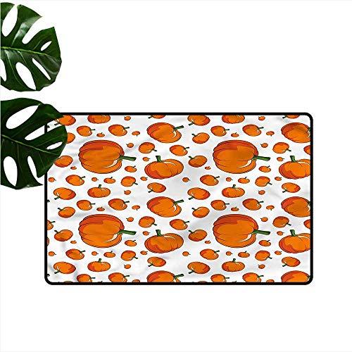 Thin Door mat Pumpkin Halloween Festival Symbol Suitable for Outdoor and Indoor use W35 xL59]()