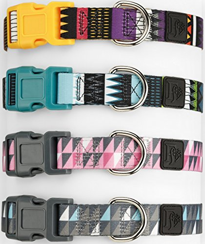 Friends Forever Dog Collar with Pattern Design Nylon Adjustable (Medium, Geometric Gray)
