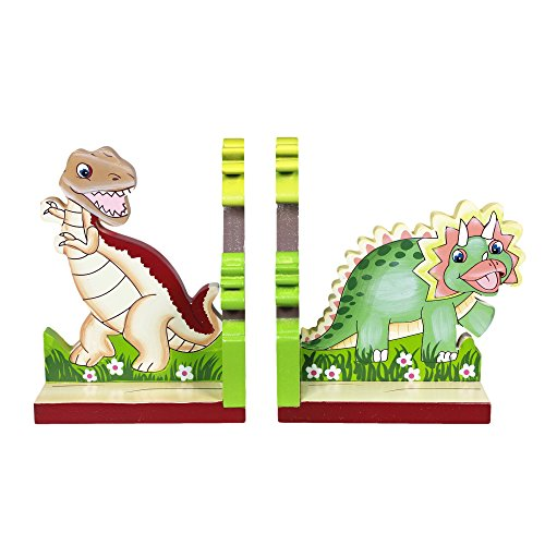 Fantasy Fields - Dinosaur Kingdom Thematic Set of 2 Wooden Bookends for Kids | Imagination Inspiring Hand Crafted & Hand Painted Details   Non-Toxic, Lead Free Water-based Paint