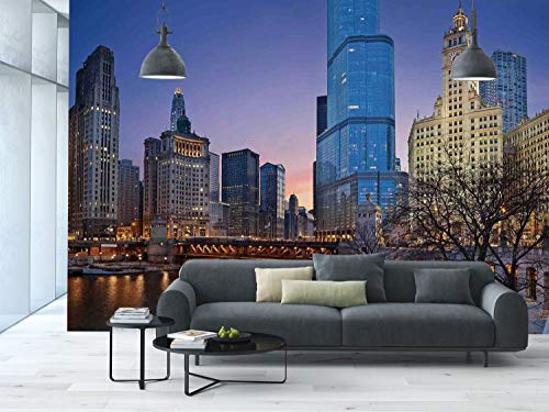 Large Wall Mural Sticker [ Landscape,Usa Chicago Cityscape with Rivers Bridge and Skyscrapers Cosmopolitan City Image,Multicolor ] Self-adhesive Vinyl Wallpaper / Removable Modern Decorating Wall Art