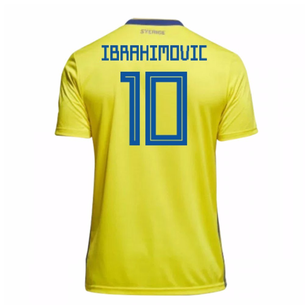 2018-19 Sweden Home Football Soccer T-Shirt Trikot (Zlatan Ibrahimovic 10) - Kids