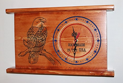 American Eagle Clock - CNC Engraved American Eagle USA Clock Personalized Wall or Mantel