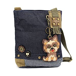 "Chala Womens' Canvas Patch Crossbody Handbag ""Yorkshire Terrier"" - Denim 1"