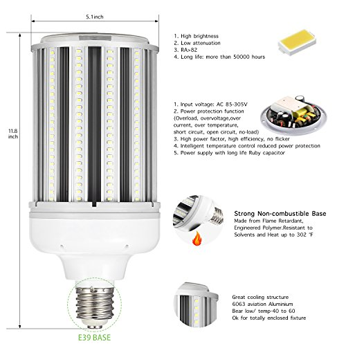120w Led Corn cob Light Bulb E39 Base, 5000K 15600lm AC100-277V,CFL HID HPS Metal Halide(500w) Replacement for Street and Area Light Factory Warehouse High Bay Work Light Parking Lot Super by AINIYO (Image #1)