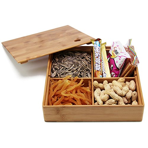 Hyacinthus Natural Bamboo Storage Box with Dividers Creative Multi Use as Snack Organizer Pantry Fruits Basket Serving Tray Mass Accessories Safekeeper and Tea Bag Container Brown Serving Tray Gift Box