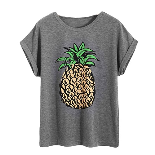 n Pineapple Printing Short Sleeve T-Shirt Cotton O-Neck Casual Tops (S, Gray) ()
