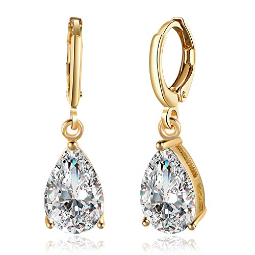 14K Gold Plated Teardrop Cubic Zirconia Dangle Earrings For Womens Girls Best Gift  Clear