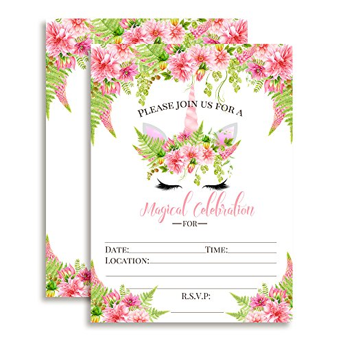 Watercolor Floral Unicorn Face with Pink Dahlias and Greenery Birthday Party Invitations, Ten 5