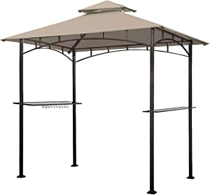 Eurmax 5x8 Grill Gazebo Shelter for Patio and Outdoor Backyard BBQ's, Double Tier Soft Top Canopy and Steel Frame with Bar Counters, Bonus LED Light X2(Beige)