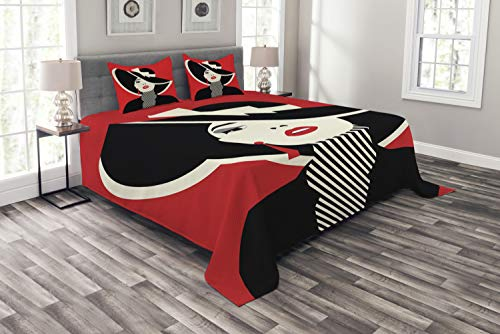 Ambesonne Fashion Bedspread, French Style in Shabby Form Classical Vintage Hat and Striped Coat Design Print, Decorative Quilted 3 Piece Coverlet Set with 2 Pillow Shams, Queen Size, Black Red ()