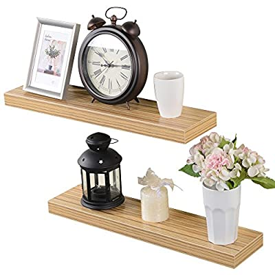 Heselian 24 Inch Floating Shelf, Floating Shelves Floating Wall Shelf, Oak(Set of 2) - Made from MDF & laminate Great for home, office & dorm, Decorative and functional. Displays pictures, books,toy and other decor - wall-shelves, living-room-furniture, living-room - 51bU80 BWEL. SS400  -