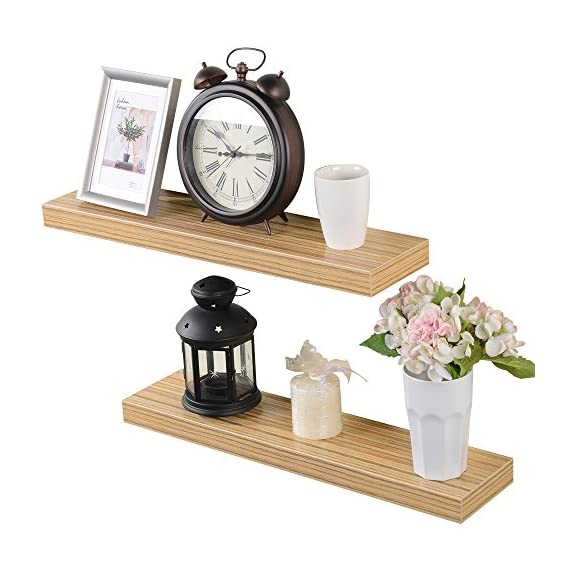Heselian 24 Inch Floating Shelf, Floating Shelves Floating Wall Shelf, Oak(Set of 2) - Made from MDF & laminate Great for home, office & dorm, Decorative and functional. Displays pictures, books,toy and other decor - wall-shelves, living-room-furniture, living-room - 51bU80 BWEL. SS570  -