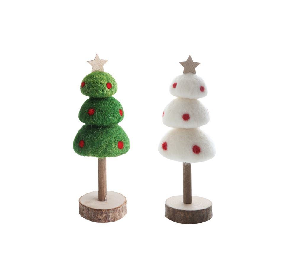 Heart of America 2 Assorted Small Wool Felt Trees On Wood Slice Bases - 2 Pieces