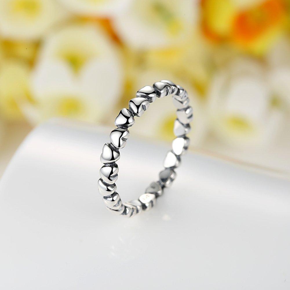 BAMOER 925 Sterling Silver Endless Love Heart Stacking Ring for Women Teen Girls Birthday Anniversary Gift Size 6-9 (7) by BAMOER (Image #2)