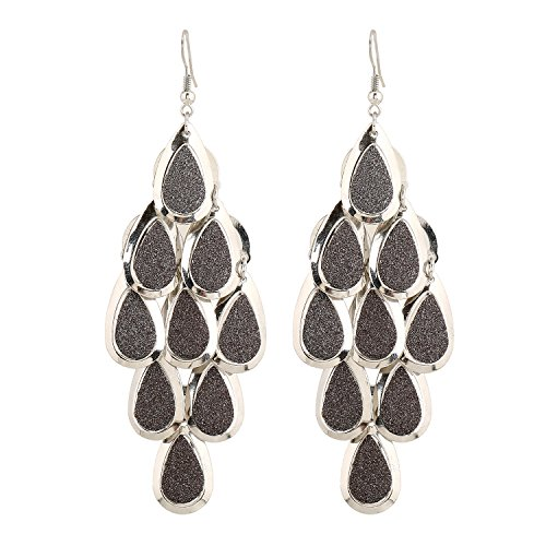 D EXCEED Women's Metal Cutout Diamond Chandelier Tiered Dangle Earrings, 3.15 (Silver/Hematite)