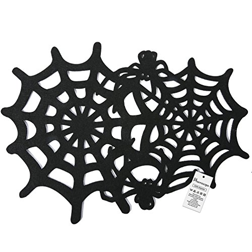 Phantoscope Decorative Halloween Spiderweb Small Placemats Set of 2