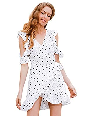 Simplee Apparel Women's Casual Cold Shoulder Ruffle Dot Print Wrap Dress Sundress