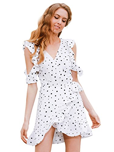 Simplee Apparel Women's Casual Cold Shoulder Ruffle Dot Print Wrap Dress Sundress