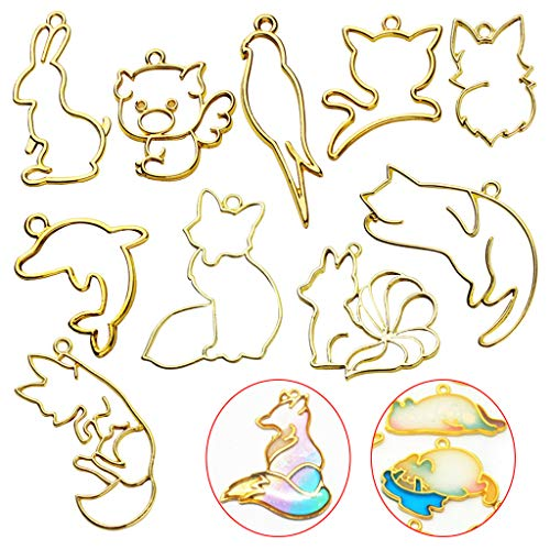 YOUSIKE 10 Pcs UV Crystal Epoxy Border Metal Frame, Bird Dolphin Cat Pig Animal Shape Hollow Modeling Crafts DIY Accessories