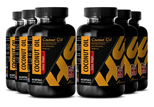 Mental alertness supplements - COCONUT OIL EXTRA VIRGIN - Detox support supplements - 6 Bottles 360 Softgels by HS PRIME