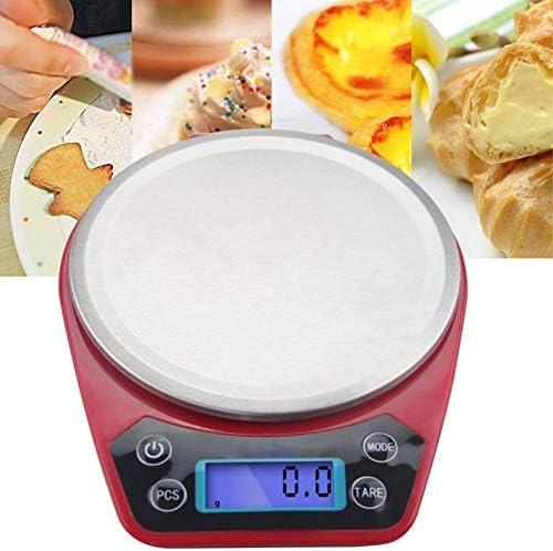 LIANYANG Bilance per Alimenti da Cucina Bilancia per Calorie precisa Digitale capacità Altamente accurata Bilancia per Dieta Sana Acciaio Inossidabile Rosso (1 kg / 0,1 g)