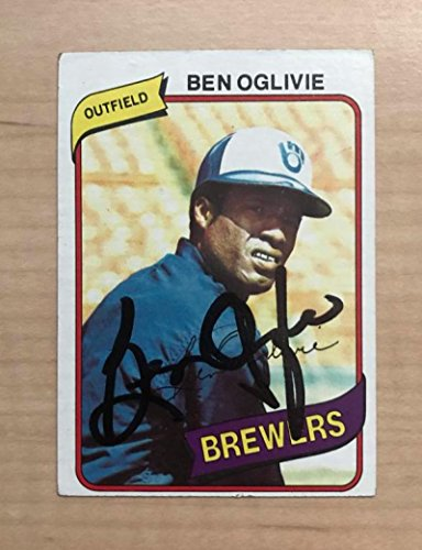 BEN OGLIVIE MILWAUKEE BREWERS SIGNED AUTOGRAPHED 1980 TOPPS CARD #53 (1980 Topps Card Photo)