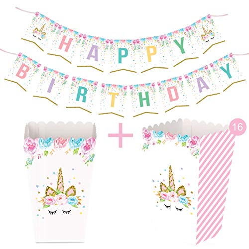 Unicorn Happy Birthday Bunting Banner w BONUS 16 party popcorn boxes - Rainbow Unicorn Themed Party Favors Glitter Decorations for Cute Fantasy Fairy Girls Birthday Party Supplies