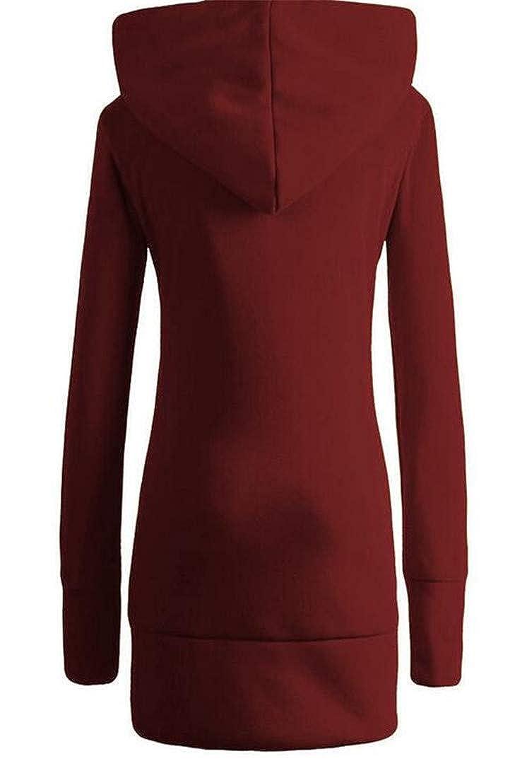 MU2M Women Fleece Longline Zip up Leopard Print Hoodie Sweatshirts