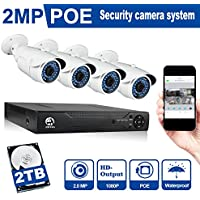 Security System, JOOAN 703NVR-4E 2 Megapixel (1920x1080) 4CH Network POE Video Security System (NVR Kit) - Four 2MP POE Weatherproof Bullet IP Cameras