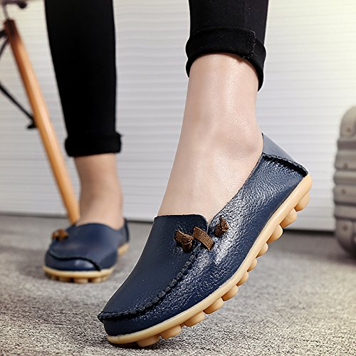Driving Loafers Blue Womens Queen Flats Lace Shoes Cowhide Boat Dark Dear Casual Shoes Up xE8OW5U