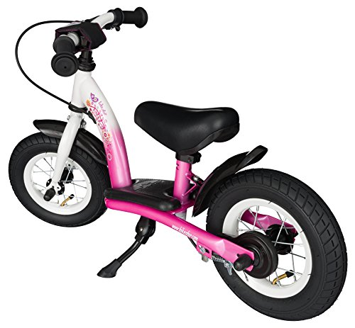 BIKESTAR® Original Safety Lightweight Kids First Balance Running Bike with brakes and with air tires for age 2 year old boys and girls | 10 Inch Classic Edition | Flamingo Pink