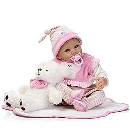 3f4b5ff97 Image Unavailable. Image not available for. Color  NPK Reborn Baby Doll  Soft Simulation Silicone Vinyl 22inch 55cm Cloth Body Open Eyes Girl  Lifelike