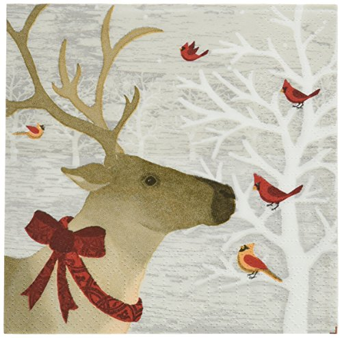Paperproducts Design 7498 Holiday Paper Napkin for Cocktail, 5 by 5-Inch, Winter Deer Friends