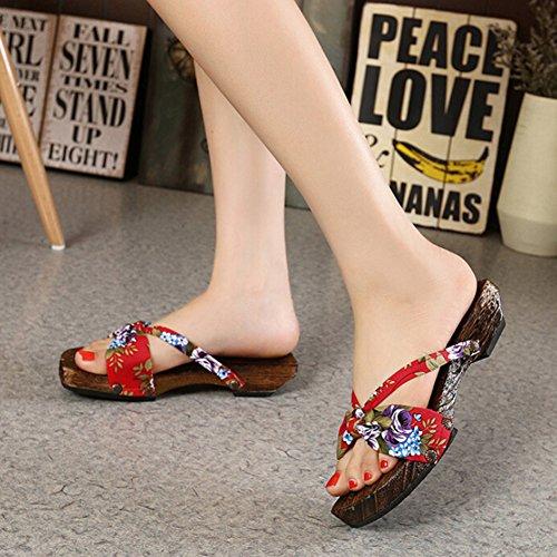 Highdas muchachas de las mujeres zuecos de madera Chanclas Zapatos H1