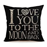 #5: I Love You To The Moon And Back Home Decor Throw Pillow Case Cushion Cover 18 x 18 Inch Cotton Linen(Valentine's Day Gift)