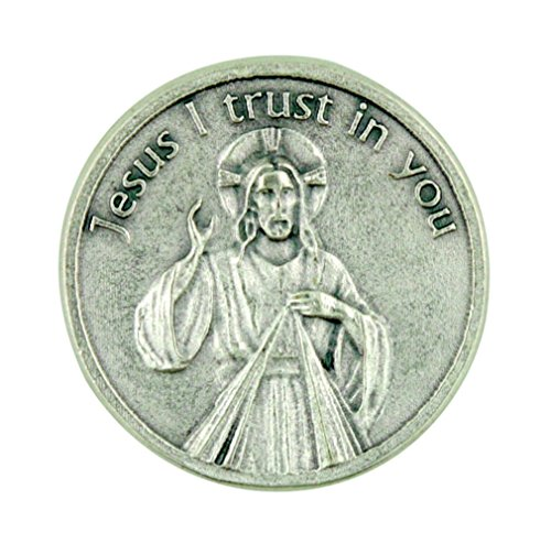 """Jesus I Trust in You"" Divine Mercy of Christ Pocket Token with Prayer Back"