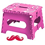 """Hot Pink Adult Kitchen Folding Step Stool 9"""" and Mustache Nail File Kit Popular Top New Unique Fun Cool Birthday Great Going Back To College High School Set for Teen Girls Women BFF Fiance Couple"""