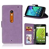 """Motorola Moto X Play(5.5"""")case,X Play(2015)case,Bujing Purple Pattern,Premium Nubuck Synthetic Leather+Soft TPU Card Slot Stand Wallet Case Only For Motorola Moto X Play(5.5"""")(2015)"""