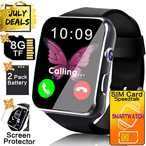 Business Smart Watch Phone - [Free SIM Card + 8GB TF ] Touchscreen Unlocked Smartwatch for Men Women Cell Phone Watch with Sync Function Music Player Camera Smartphone for Prime Discount Gifts