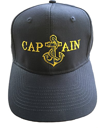 Anchor Boat Captain Hat Navy Blue Cap Embroidered (Bass Visor Embroidered)