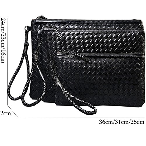 Fanmingsidi - Cartera de mano para hombre Black MEDIUM Black SMALL