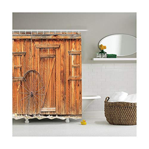 Beydodo Bathtub Curtain Waterproof with Old Wallpaper 70x70in Polyester Shower Curtain Home -