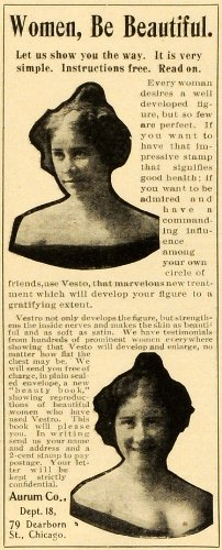 1904 Ad Beauty Health Breast Enhancement Vesto Aurum 79 Dearborn Street Chicago - Original Print Ad from PeriodPaper LLC-Collectible Original Print Archive