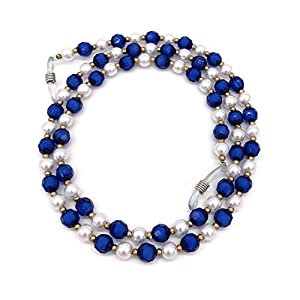 Acrylic Pearl Bead Beaded Eyeglass Chain Holder Sunglass Strap Holder Eyewear Retainer Lanyard Cord for Women (Blue)