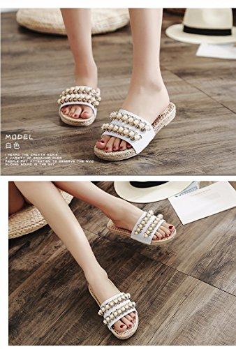XIAOGEGE Xiaogee Zapatillas de verano para mujer al aire libre remolque playa zapatos blanco