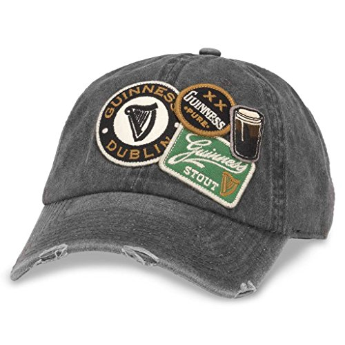 American Needle Iconic Patch Distressed Dad Hat Guiness, Black (GUIN-1802A)