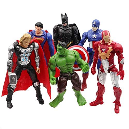 Superhero Avengers Action Figures - 6 Piece Action Figure Set - Batman, Superman, Hulk, Thor, Ironman, Captain America