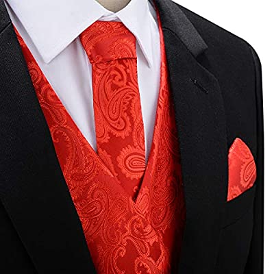 SuiSional Mens 4pc Classic Paisley Suit Vest Set Necktie Bowtie Hanky for Tuxedo
