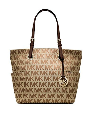 Michael Kors Jet Set East West Tote in Signature Beige Ebony & Mocha Jacquard (Michael Kors Jet Set Monogram Signature Tote)
